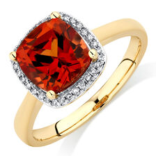 Ring with Created Orange Sapphire & Diamonds in 10kt Yellow Gold