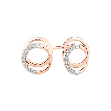 Circle Stud Earrings With 1/10 Carat TW of Diamonds In 10kt Rose Gold
