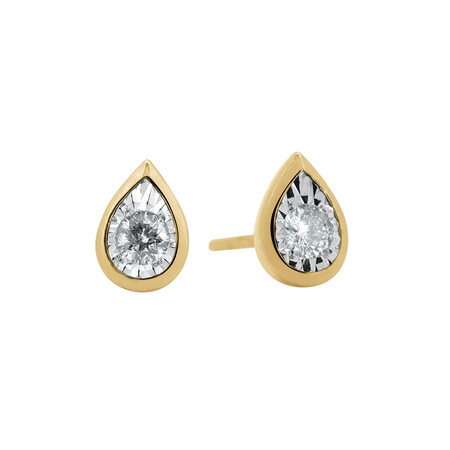 Pear Stud Earrings with 0.16 Carat TW of Diamonds in 10ct Yellow Gold