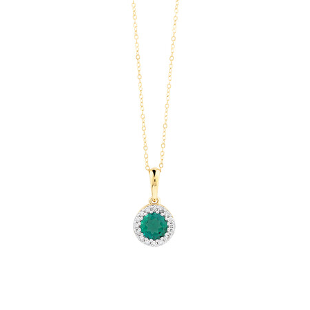 Halo Pendant With Diamonds And Created Emerald In 10kt Yellow Gold