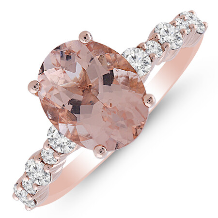 Ring with Morganite & 0.50 Carat TW of Diamonds in 10kt Rose Gold