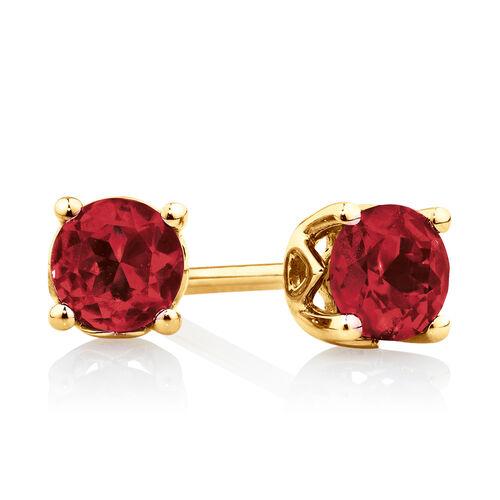 4mm Stud Earrings with Created Ruby in 10kt Yellow Gold