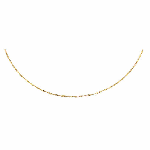 """40cm (16"""") Hollow Singapore Chain in 10kt Yellow Gold"""