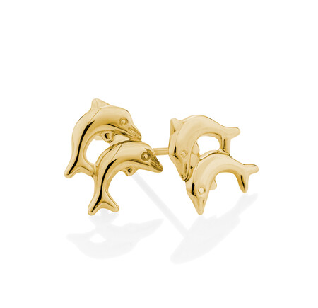 Dolphin Stud Earrings in 10kt Yellow Gold