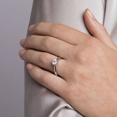 Whitefire Solitaire Engagement Ring with a 1 Carat TW Diamond in 18kt White & 22kt Yellow Gold