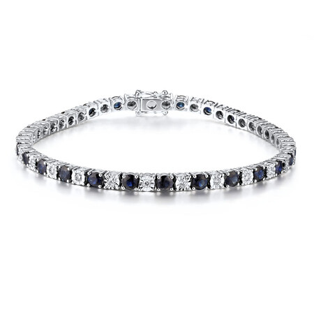 Tennis Bracelet with Natural Sapphire & 0.55 Carat TW of Diamonds in 10kt White Gold