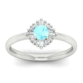 Ballerina Ring with Aquamarine & Diamond in 10kt White Gold