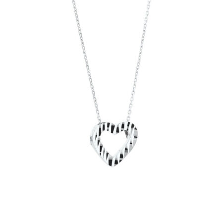 Heart Pendant in 10kt White Gold