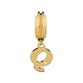 Diamond Set & 10kt Yellow Gold 'Q' Charm