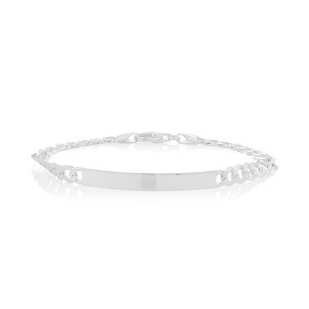 "21cm (8.5"") ID Curb Bracelet in Sterling Silver"