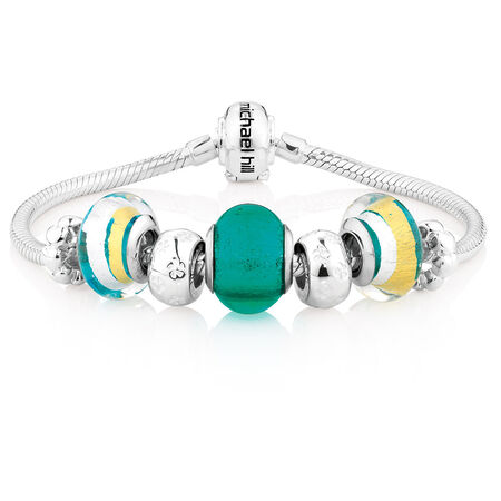 "Online Exclusive - Green Glass & Sterling Silver 19cm (7.5"") Charm Bracelet"