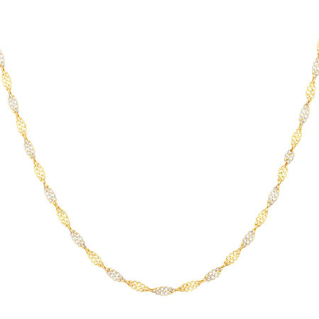 """45cm (18"""") Singapore Chain in 10kt Yellow & White Gold"""