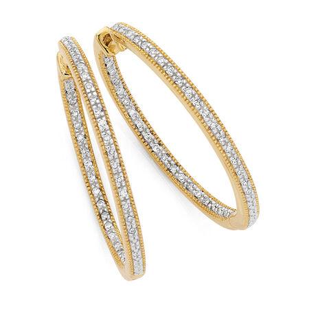 Hoop Earrings with 0.26 Carat TW of Diamonds in 10kt Yellow Gold