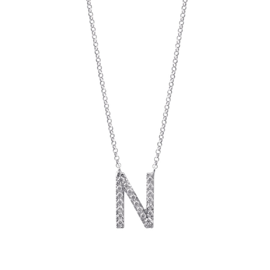 """N"" Initial necklace with 0.10 Carat TW of Diamonds in 10kt White Gold"
