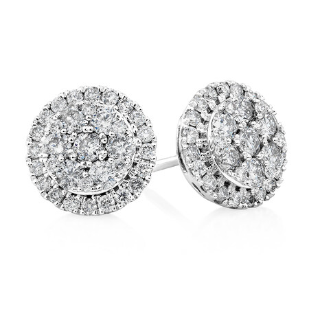 Cluster Earrings with 1.0 Carat TW of Diamonds in 10kt White Gold