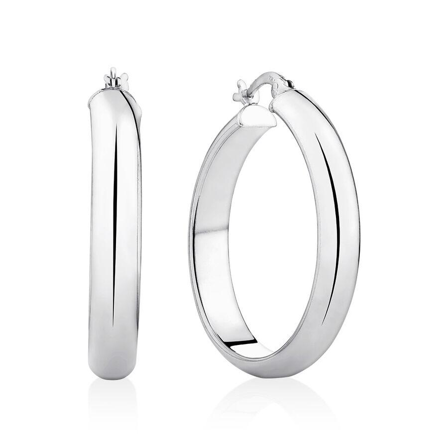 30mm Round Hoop Earrings in Sterling Silver