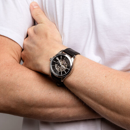 Men's Watch in Stainless Steel & Black Leather