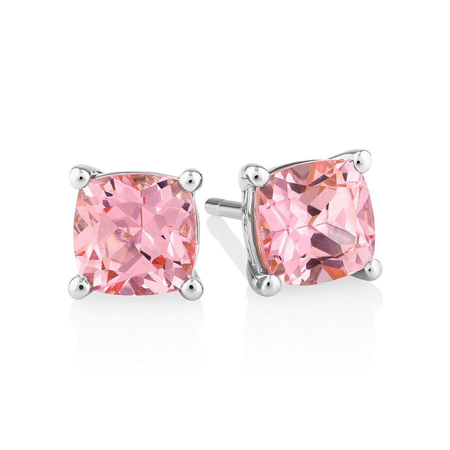 Earrings with Created Peach Sapphire in Sterling Silver