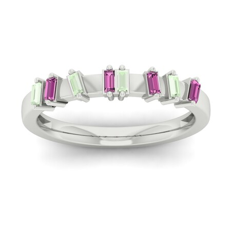 Stacker Ring with Garnet in 10kt White Gold