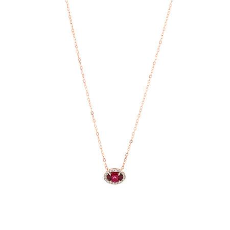 Halo Rhodolite Garnet & Diamonds Necklace in 10kt Rose Gold