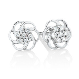 Flower Stud Earrings with Diamonds in 10kt White Gold