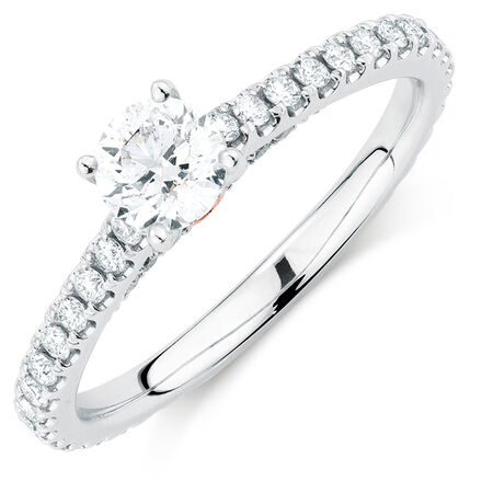 Sir Michael Hill Designer GrandAria Engagement Ring with 0.95 Carat TW of Diamonds in 14kt White Gold