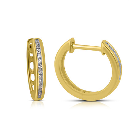 Pave Set Huggies with Diamonds in 10kt Yellow Gold