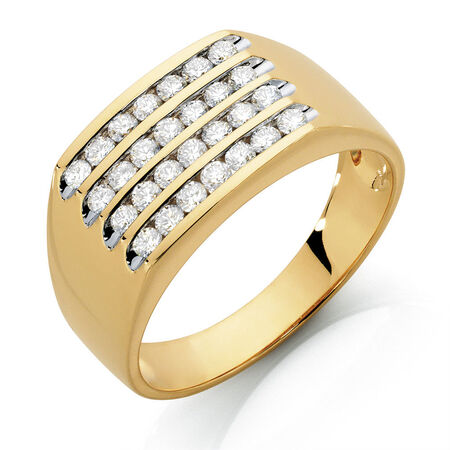 Men's Ring with 1 Carat TW of Diamonds in 10kt Yellow Gold