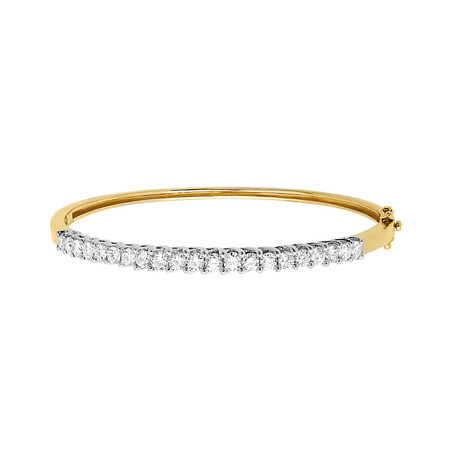 Hinged Bangle with 2 Carat TW of Diamonds in 18kt Yellow & White Gold