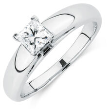 Certified Solitaire Engagement Ring with a 0.45 Carat Diamond in 14kt White Gold