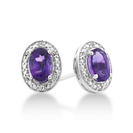 Halo Stud Earrings with Diamonds and Amethyst in Sterling Silver