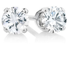 Stud Earrings with 0.40 Carat TW of Diamonds in 10kt White Gold