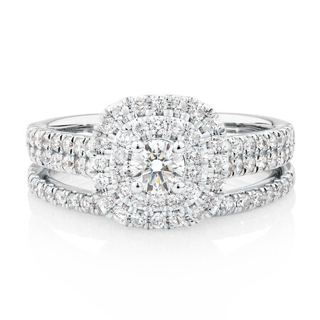 Evermore Bridal Set with 1 Carat TW of Diamonds in 14kt White Gold