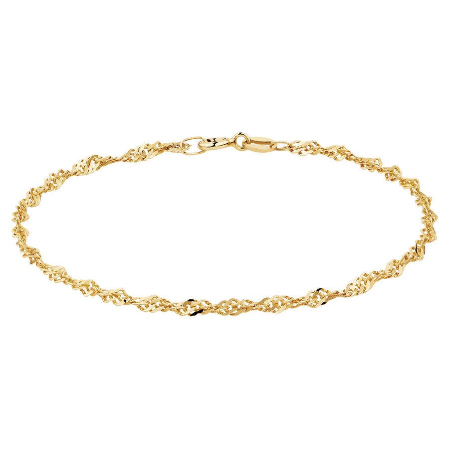 "19cm (7.5"") Singapore Bracelet in 10kt Yellow Gold"