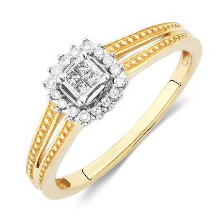 Promise Ring with Diamonds in 10kt Yellow Gold