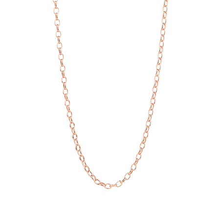 "70cm (28"") Hollow Oval Rolo Chain in 10kt Rose Gold"