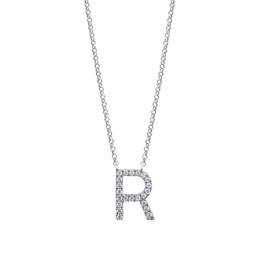 """""""R"""" Initial necklace with 0.10 Carat TW of Diamonds in 10kt White Gold"""