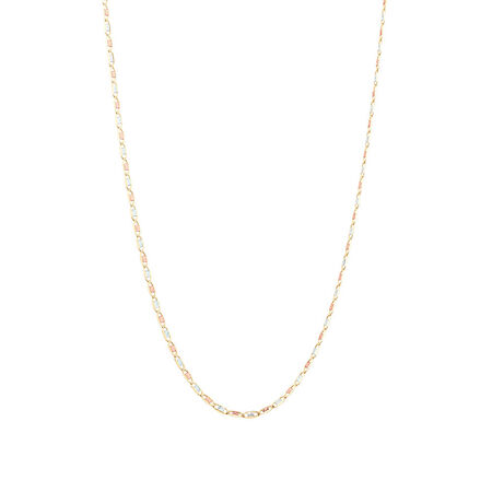 """50cm (20"""") Solid Chain in 10kt Yellow, Rose & White Gold"""