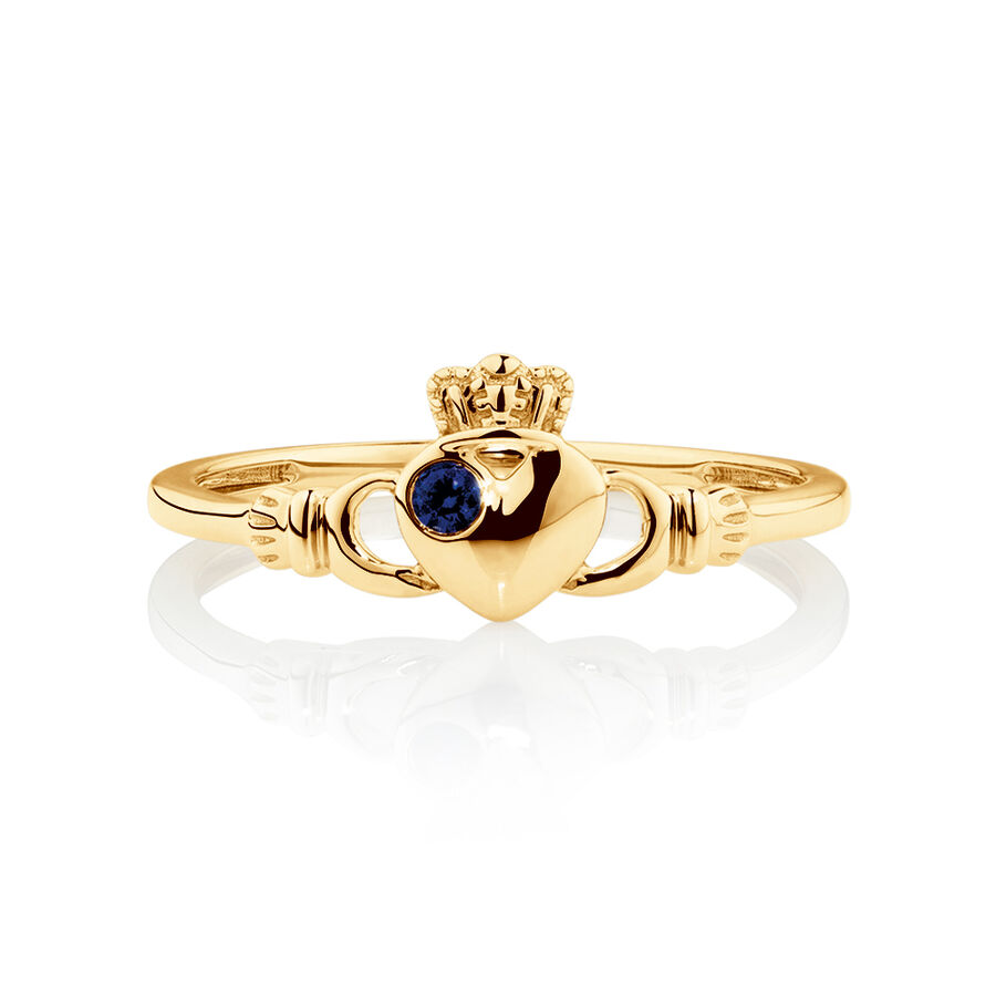 Claddagh Ring with Created Sapphire in 10kt Yellow Gold