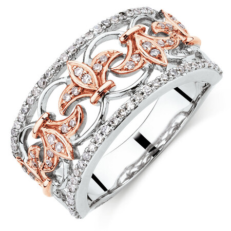 Filigree Ring with0.33 Carat TW of Diamonds in 10kt Rose and White Gold