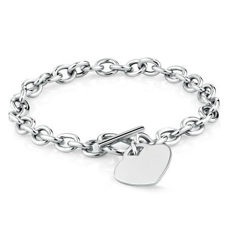 Heart Belcher Bracelet in Sterling Silver
