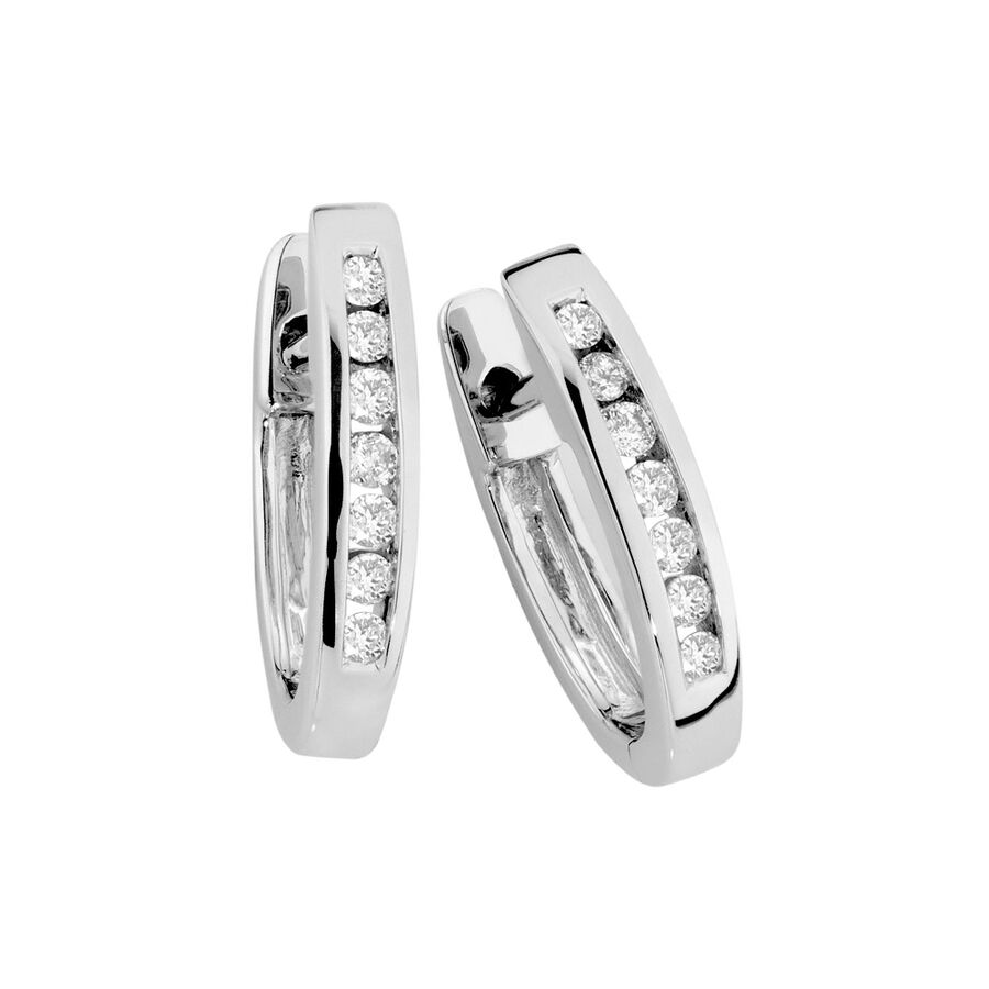 Huggie Earrings with 0.25 Carat TW of Diamonds in 10kt White Gold