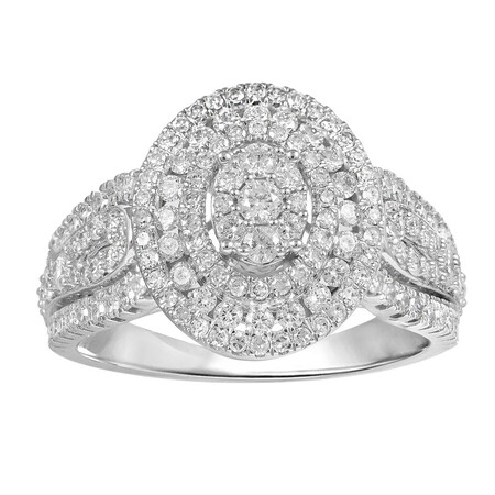 Oval Ring with 1.00 Carat TW of Diamonds in 10kt White Gold