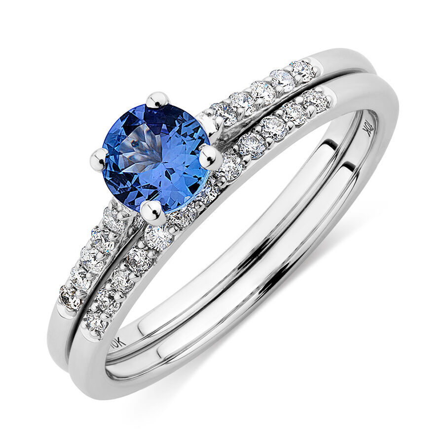 Evermore Bridal Set with Tanzanite & 1/5 Carat TW of Diamonds in 10kt White Gold