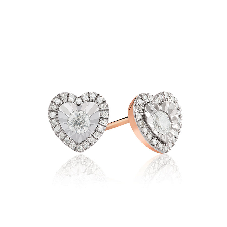 Heart Earrings With 1/4 Carat TW Of Diamonds In 10kt Rose Gold