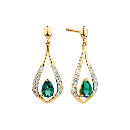 Drop Earrings with Created Emerald & Diamonds in 10kt Yellow Gold