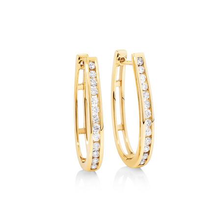 Huggie Earrings 0.50 Carat TW of Diamonds in 10kt Yellow Gold