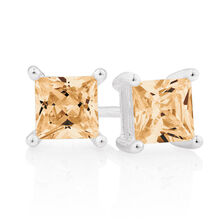 Champagne Cubic Zirconia & Sterling Silver Square Stud Earrings