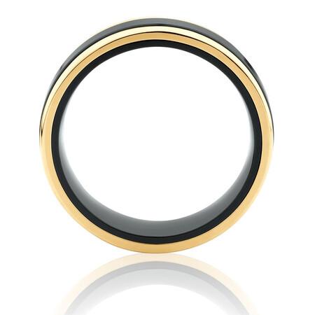 7mm Ring in 10ct Yellow Gold & Black Titanium