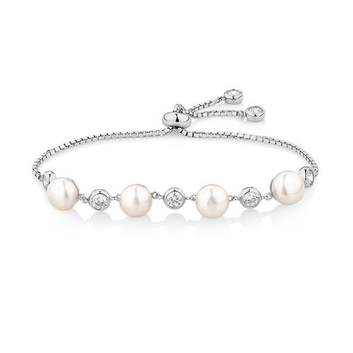 Adjustable Bracelet with Cultured Freshwater Pearls & Cubic Zirconia in Sterling Silver